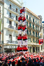 Can jorba in barcelona spai spain april april spain castell catalan show is human tower built traditionally festivals Royalty Free Stock Image