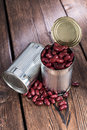Can with Kidney Beans on wood Royalty Free Stock Photo
