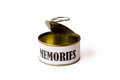Can without memories picture of a with sign white background Stock Photo