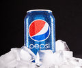 Can of pepsi odessa ukraine september cola on ice is a carbonated soft drink that is produced and manufactured by pepsico Stock Images