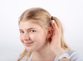Can't hear you Royalty Free Stock Photo