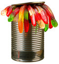 Can of worms candy in an aluminum isolated Stock Photo