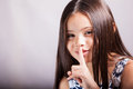 Can you keep a secret pretty little hispanic girl gesturing to it quiet or to with her finger Royalty Free Stock Photos