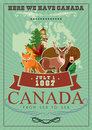 Canada. Canadian vector illustration with canadian animals. Vintage style. Travel postcard. Royalty Free Stock Photo