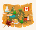 Canada. Canadian vector illustration with map. Vintage style. Travel postcard. Royalty Free Stock Photo