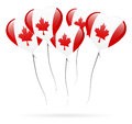 Canada day balloon group of air balloons with hearth shape and canadian flag Royalty Free Stock Photos