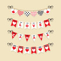 Canada Day buntings and festive garlands icons