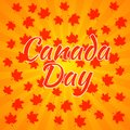 Canada Day. Orange background, rays from the center, red maple leaves Royalty Free Stock Photo