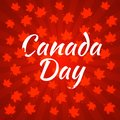 Canada Day. Dark red background, rays from the center, red maple leaves Royalty Free Stock Photo