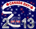 Canada day silver d with glass ball flags and banner Stock Photos