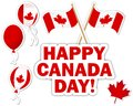 Canada day stickers with a maple leaves balloons and flags Stock Images