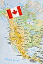 Canada flag pin on map Royalty Free Stock Photo