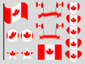 Canada flag set. Collection of symbols, flag in heart. Button and star. Vector Royalty Free Stock Photo