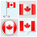 Canada flag set of sticker button label and flagstaff various Royalty Free Stock Photo