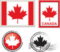 Canada flag stamp illustration Stock Photos