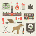 Canada icons vector set of various stylized Royalty Free Stock Image