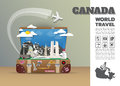 Canada Landmark Global Travel And Journey Infographic luggage.