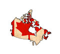 Canada map on Canada flag drawing Royalty Free Stock Photo