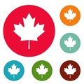 Canada maple leaf icons circle set vector Royalty Free Stock Photo