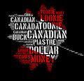 Canada monetary concept with word cloud with shape of maple leaf Royalty Free Stock Photo
