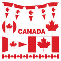 Canada pennants and flags set of assorted with stitching Stock Photography