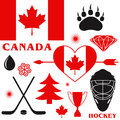 Canada set isolated objects on white background vector illustration eps Stock Photography