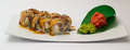 Canada sushi roll on white crockery with ginger and wasabi Stock Images