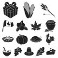 Canada Thanksgiving Day black icons in set collection Royalty Free Stock Photo