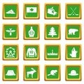 Canada travel icons set green