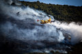 Canadair in action extinguishes a fire on island vis Stock Images