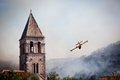 Canadair in action extinguishes a fire the town of vis on island vis Royalty Free Stock Photography