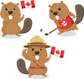 Canadian beaver cartoon illustrations holding canada flag playing ice jockey boy scout always ready vector illustration Royalty Free Stock Photography