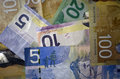 Canadian currency dollars of denomination and Royalty Free Stock Photos