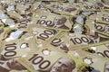 100 Canadian dollar banknotes. Royalty Free Stock Photo