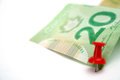 Canadian dollar bill on white background Stock Photography