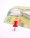 Canadian dollar bill on white background Royalty Free Stock Images