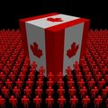 Canadian flag cube surrounded by people Royalty Free Stock Images