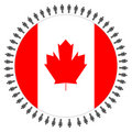 Canadian flag with people Royalty Free Stock Image