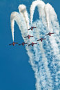 Canadian forces snowbirds jet aircraft team completing a loop Stock Photo