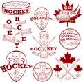 Canadian hockey symbolset set of vector patriotic symbols Stock Photo
