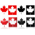 Canadian maple leaf series of icons depicting the and red and white or black and white Stock Image