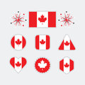 Canadian national flag icons set on modern gray background