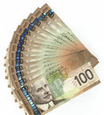 Canadian one hundred dollar bills Royalty Free Stock Photo