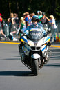 Canadian Police Officer on a motor bike Royalty Free Stock Photography