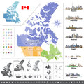 Canadian provinces and territories map colored by regions. Royalty Free Stock Photo