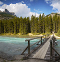 Canadian rockies river waterfowl campground banff trail bridge across the mistaya to national park canada Royalty Free Stock Photo