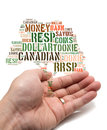 Canadian savings concept growing with tag cloud tree inside a married male asian hand on white background Stock Images