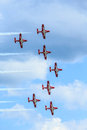 Canadian snowbirds show bagotville canada june the bagotville airshow is a days airshow where the bagotville airport opens to the Stock Photo