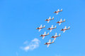 Canadian snowbirds show bagotville canada june the bagotville airshow is a days airshow where the bagotville airport opens to the Royalty Free Stock Photography