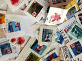 Canadian stamps background Stock Images